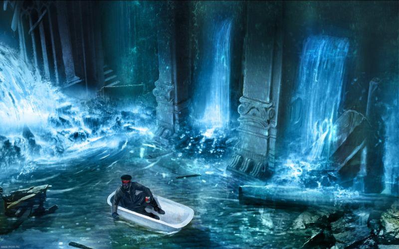 jl Romantically Apocalyptic fantasy sci-fi city ruins waterfall wallpaper