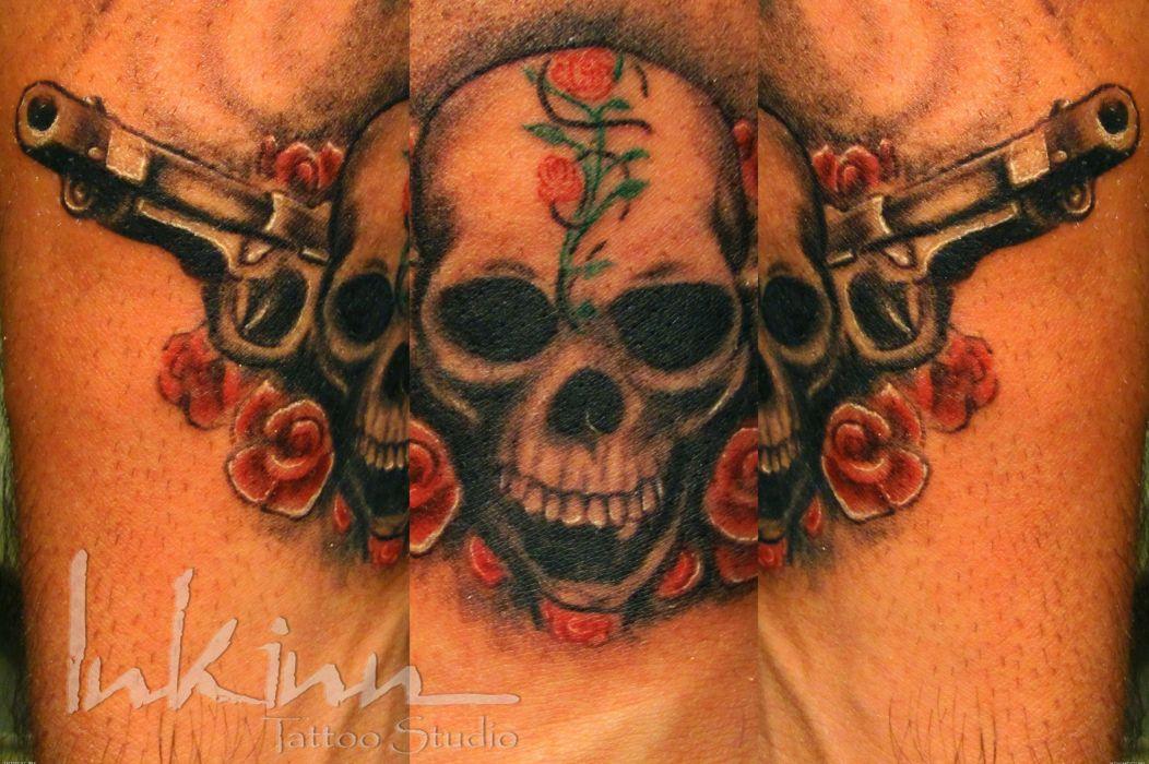 GUNS N ROSES heavy metal hair hard rock dark skull tattoo wallpaper