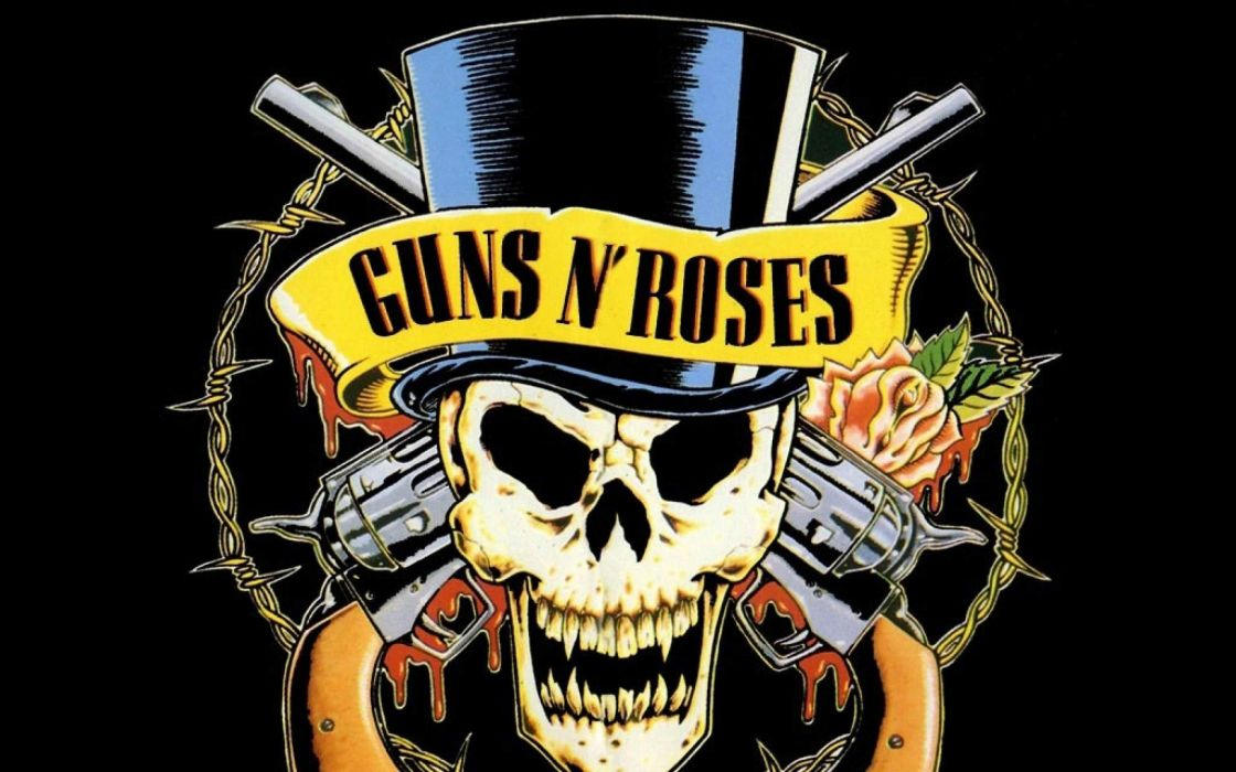GUNS N ROSES heavy metal hair hard rock poster dark skull weapon gun wallpaper