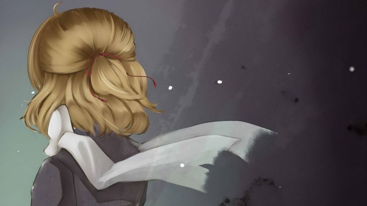 blondes video games Touhou back short hair back view ponytails scarfs ahoge Mizuhashi Parsee anime girls hair ornaments wallpaper