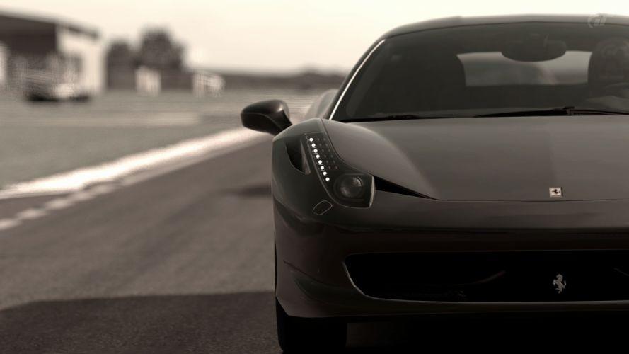 video games cars grayscale Gran Turismo Ferrari 458 Italia wallpaper