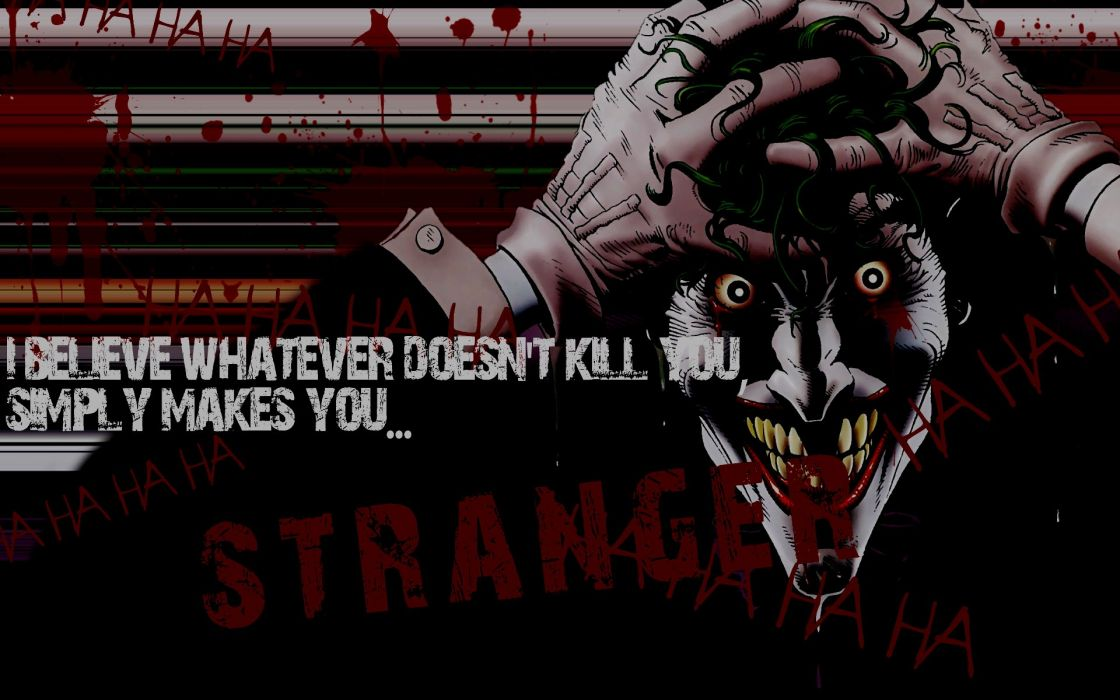DC Comics The Joker typography what doesnt kill you wallpaper