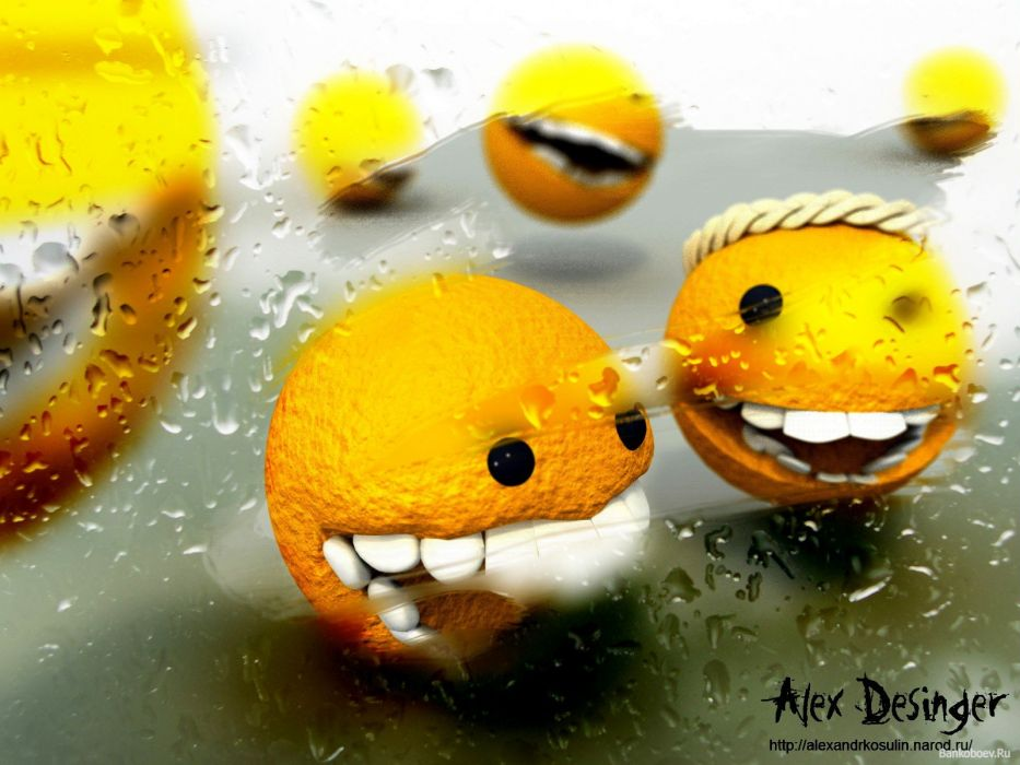 smiley oranges wallpaper