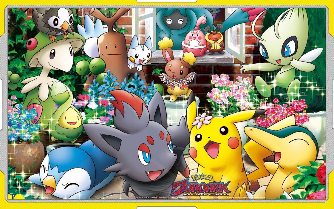 Pokemon Pikachu Sudowoodo Cyndaquil Piplup Celebi Zorua Tangrowth Breloom Buneary Pachirisu Happiny Budew Kricketot wallpaper