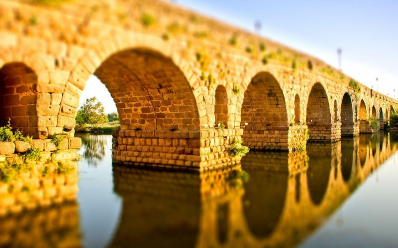 water bridges tilt-shift wallpaper
