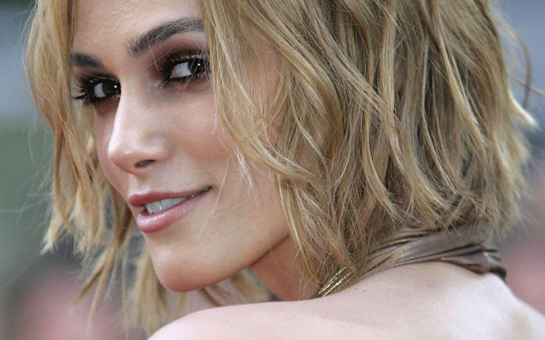 blondes women actress Keira Knightley lips celebrity portraits wallpaper