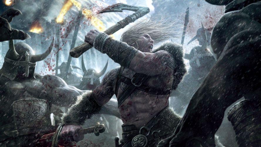 war blood Vikings battles axes realistic detailed Skarin wallpaper