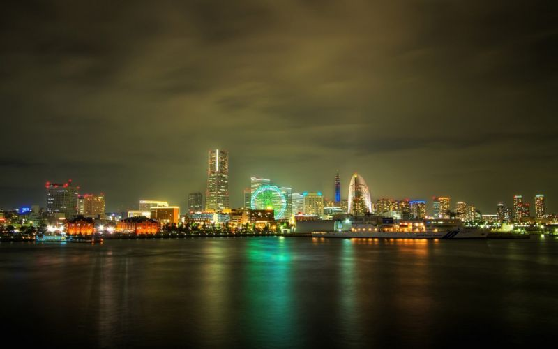 light water cityscapes night multicolor downtown wallpaper