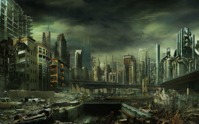 post-apocalyptic buildings artwork cities wallpaper