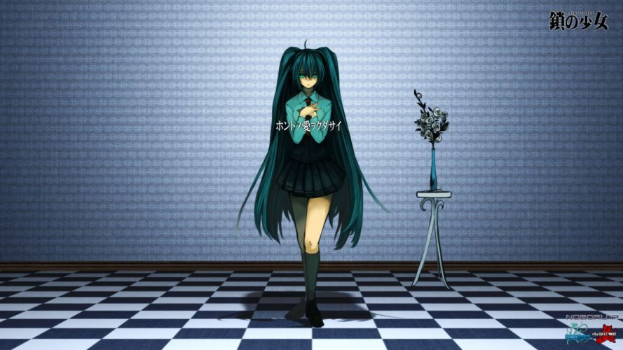 Vocaloid Hatsune Miku school uniforms long hair green hair twintails wallpaper