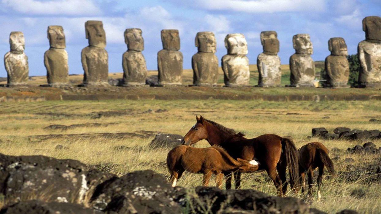 Chile horses Easter Island moai wallpaper
