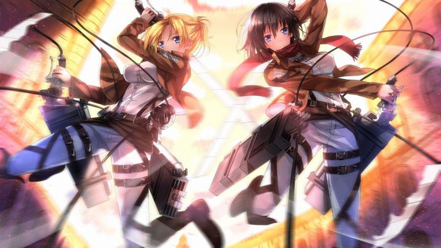 anime Shingeki no Kyojin Mikasa Ackerman Annie Leonhart wallpaper