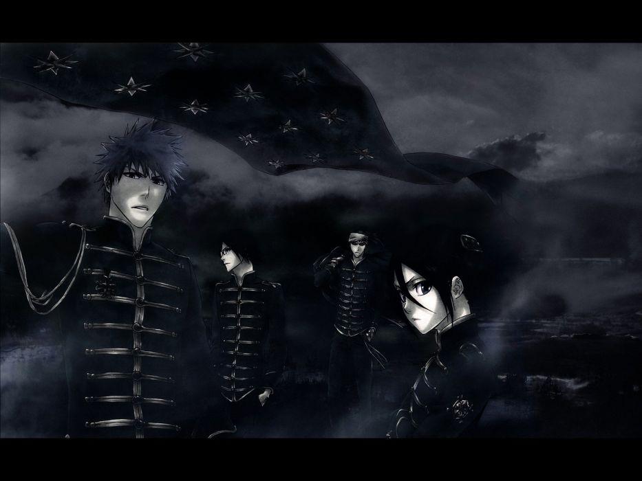 uniforms dark Bleach Kurosaki Ichigo monochrome Kuchiki Rukia anime Abarai Renji Ishida Uryuu wallpaper