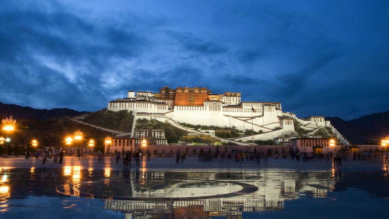 water lights china buildings tibet reflections potala wallpaper