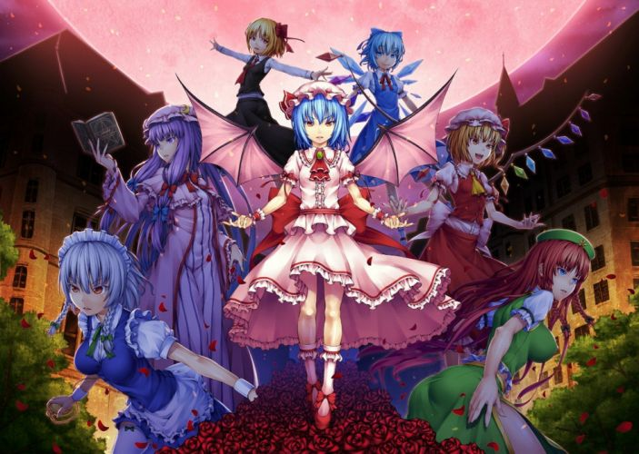 video games Touhou wings maids Cirno Izayoi Sakuya vampires Flandre Scarlet Hong Meiling Patchouli Knowledge Rumia Remilia Scarlet Embodiment of Scarlet Devil wallpaper