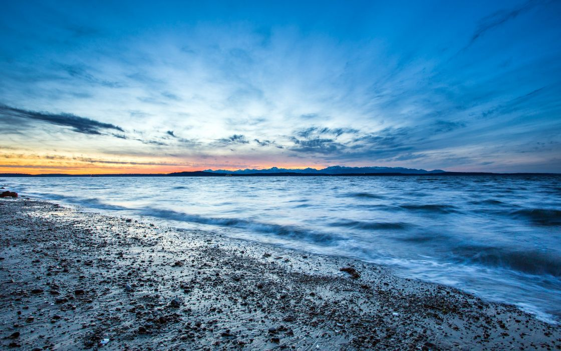 sunset landscapes nature coast waves Seattle USA pebbles HDR photography Washington sea beaches wallpaper