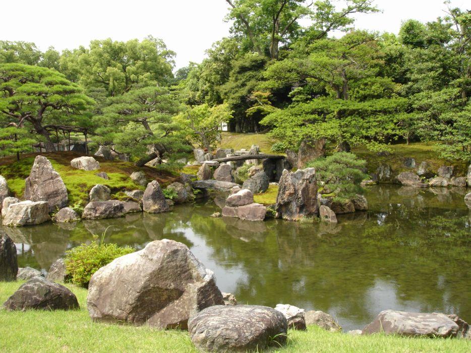 landscapes trees rocks ponds wallpaper