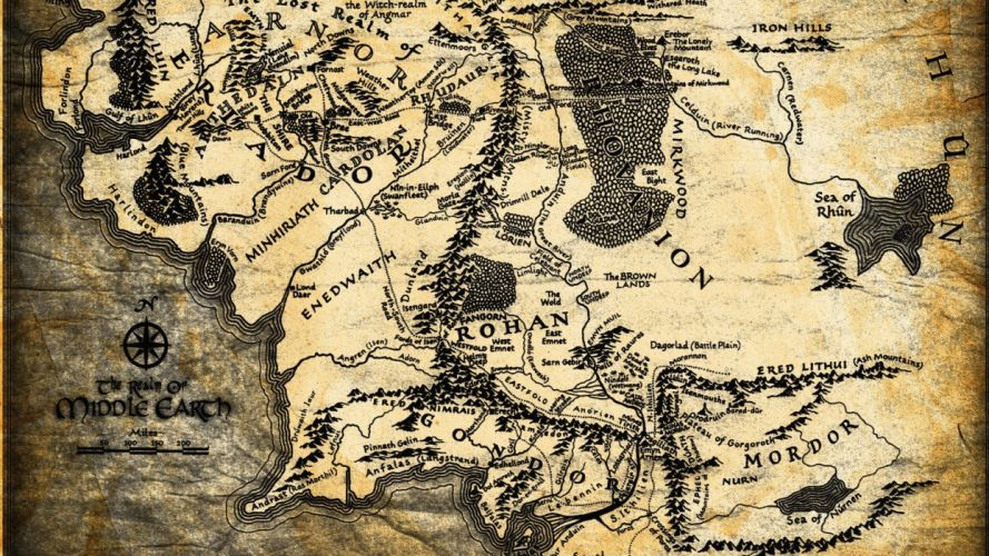 The Lord of the Rings maps wallpaper