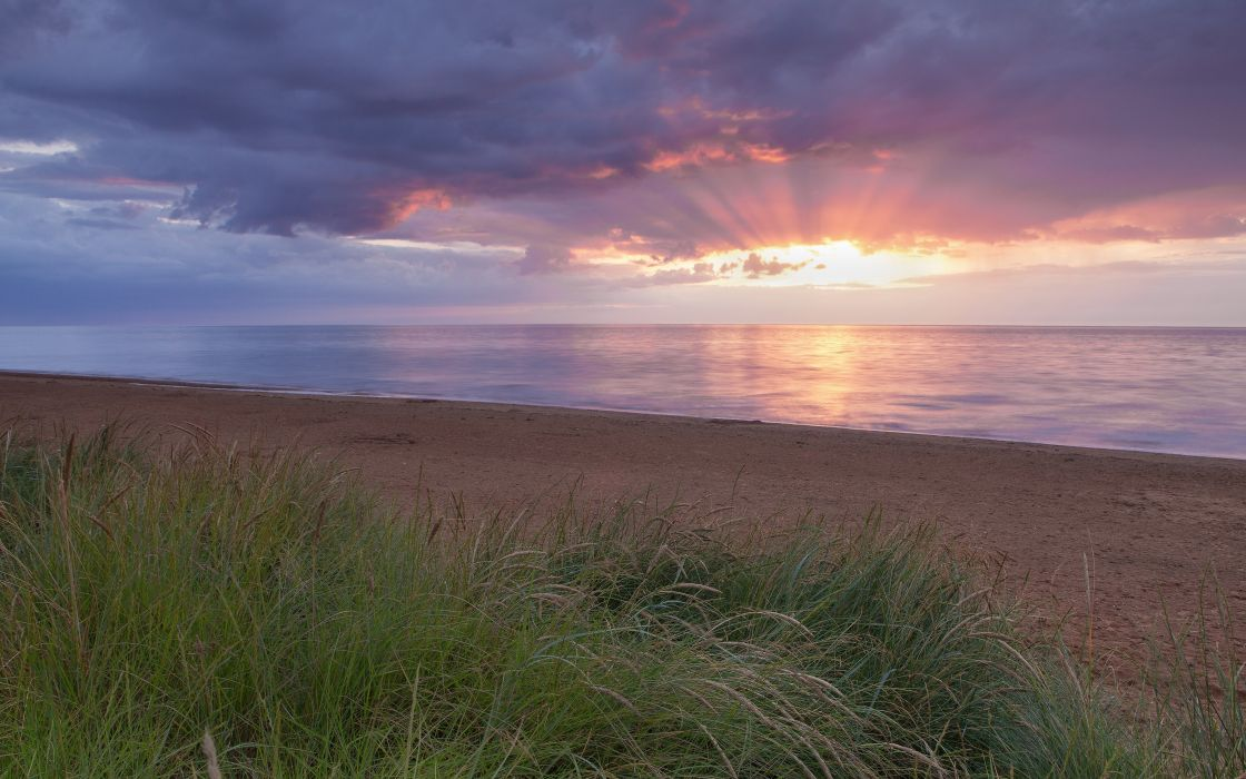 sunset clouds landscapes nature coast grass sunlight United Kingdom HDR photography skies sea beaches wallpaper