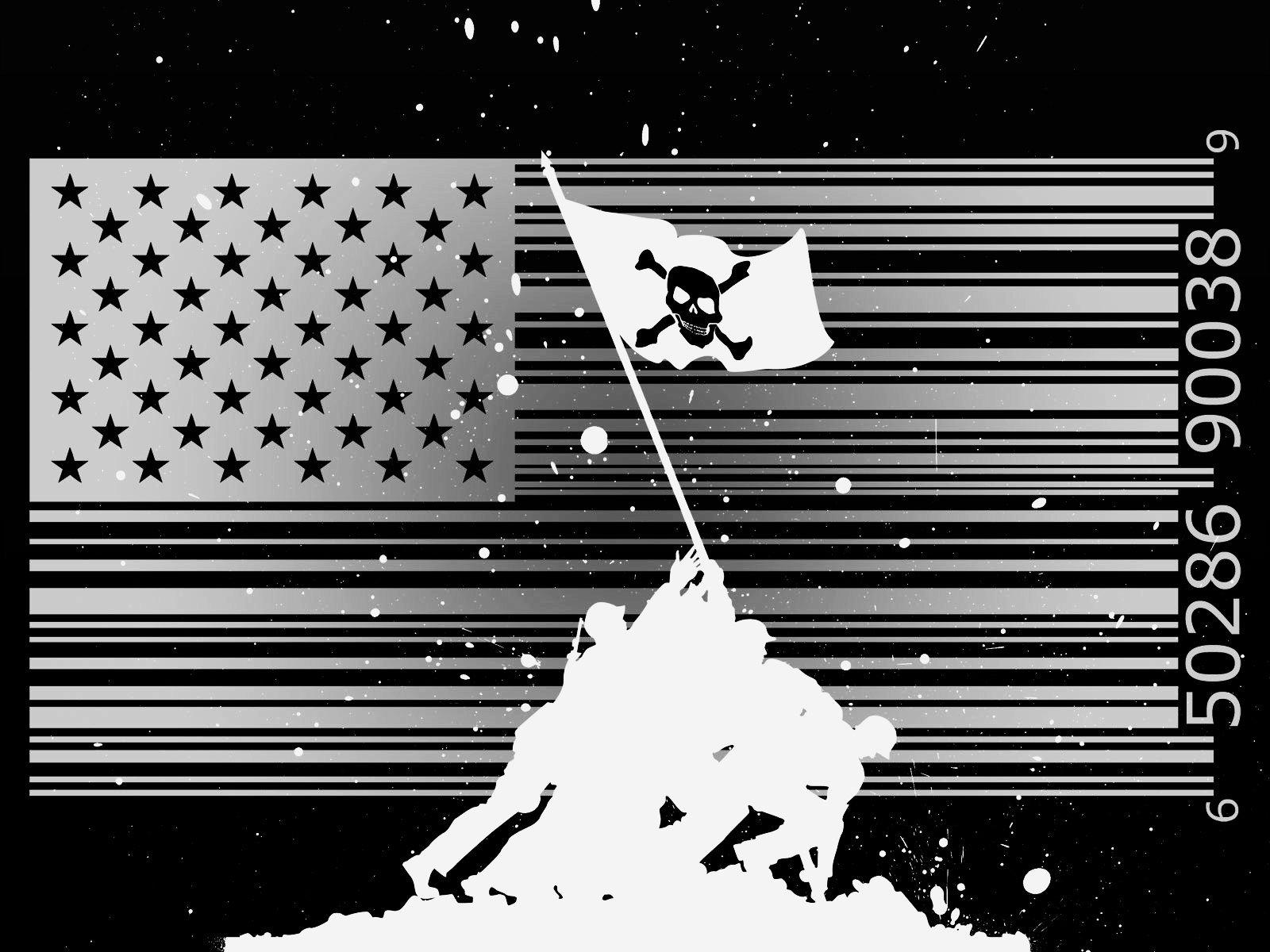 Dark Flags Usa Piracy Barcode Iwo Jima Jolly Roger Wallpaper