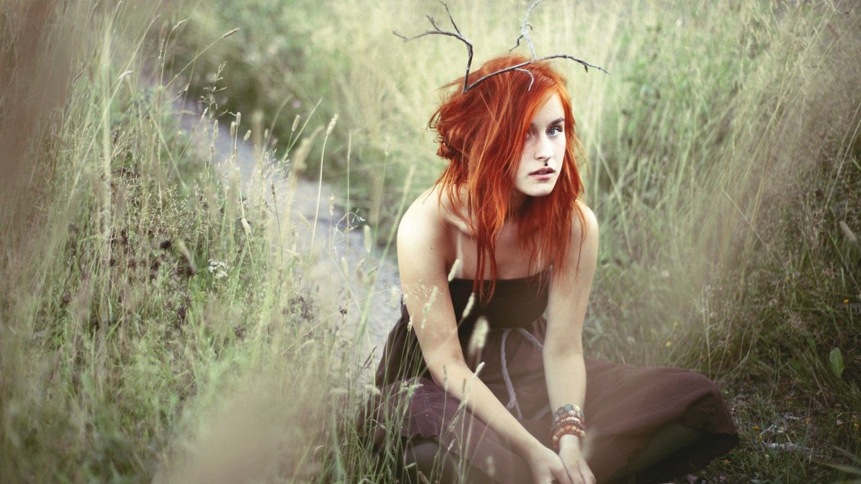 women redheads fashion piercings pierced lips faces portraits wallpaper