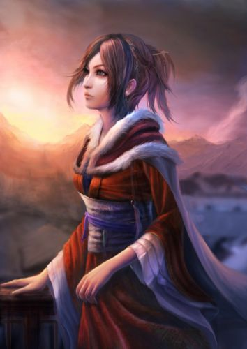 brunettes sunset mountains clouds nature trees forests blue eyes belts outdoors short hair cloaks earrings artwork Japanese clothes anime girls hair band railing hair ornaments skies original characters wallpaper