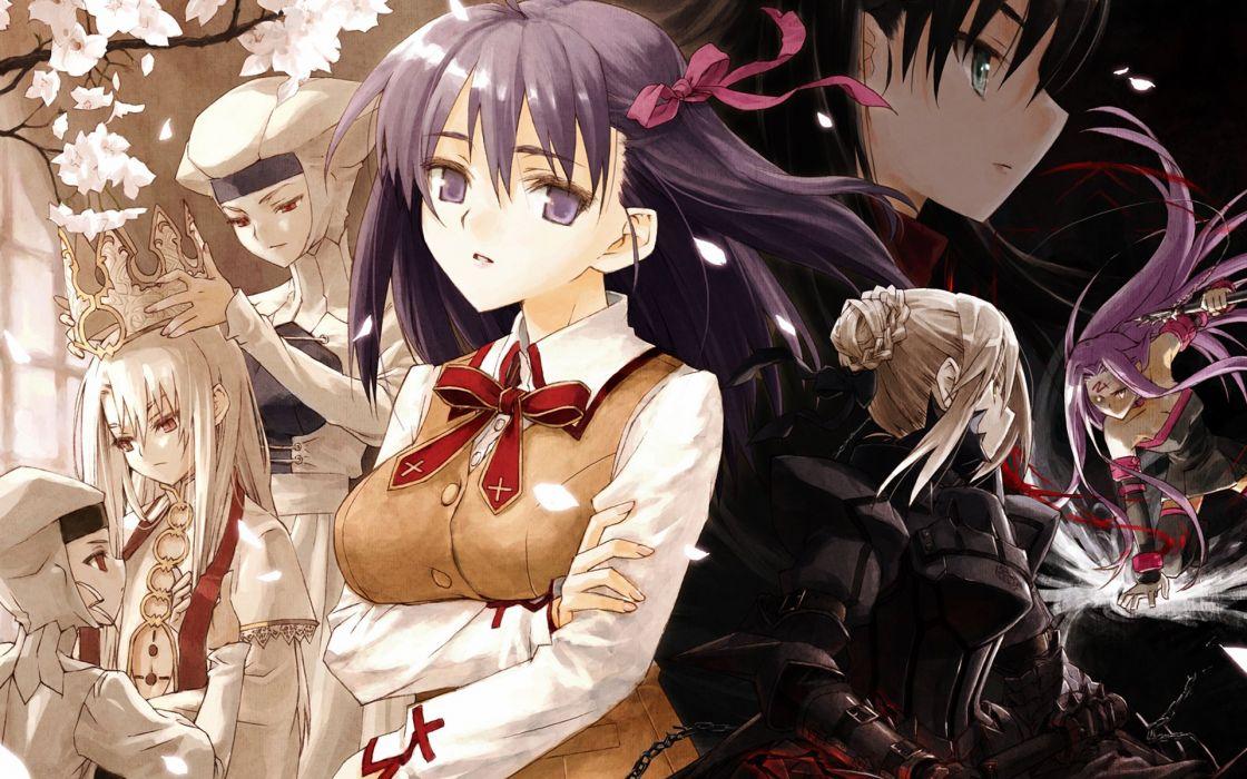 Fate/Stay Night Tohsaka Rin Type-Moon Saber  Matou Sakura Rider (Fate/Stay Night) Fate series Leysritt Sella Konoe Ototsugu Illyasviel von Einzbern wallpaper