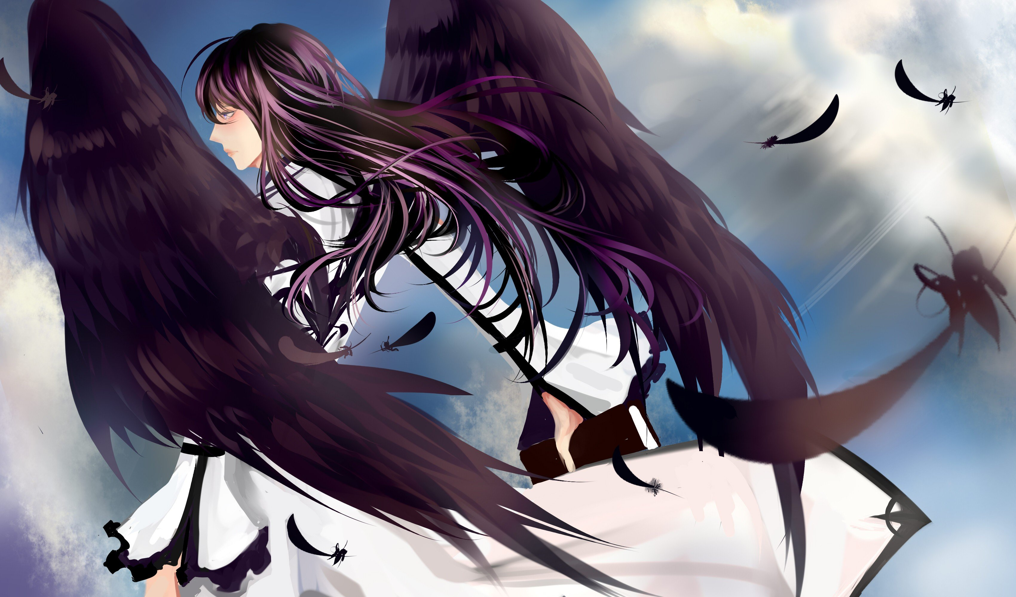 Clouds wings Vocaloid dress back blue eyes long hair feathers purple hair books anime boys white ...