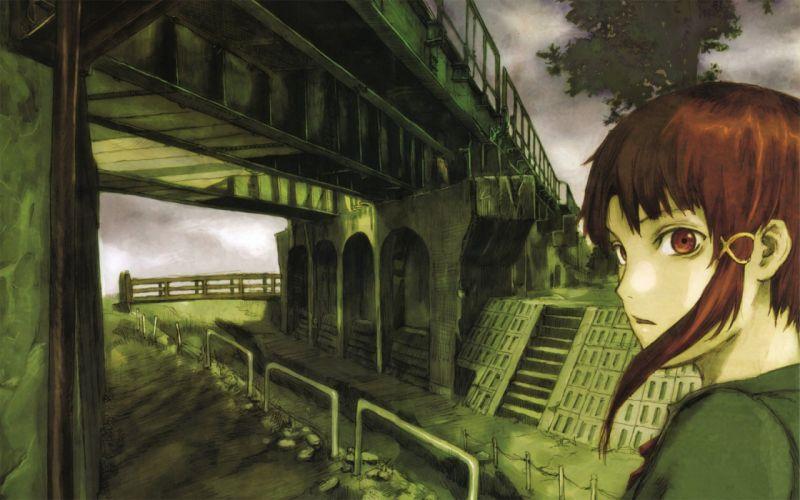 brunettes Serial Experiments Lain brown eyes Iwakura Lain anime anime girls wallpaper