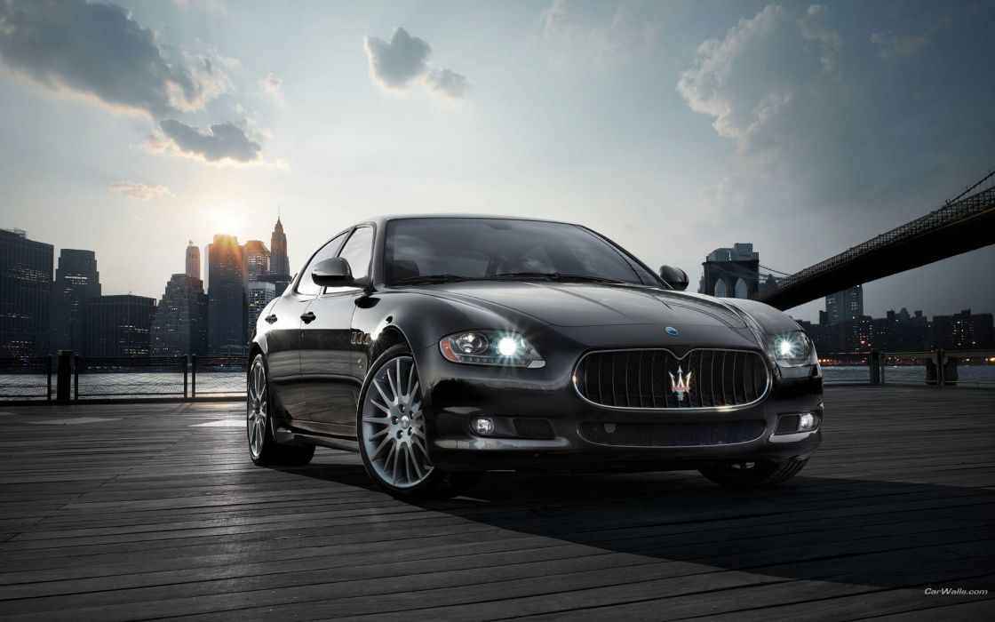 cars Maserati vehicles black cars Maserati Quattroporte wallpaper