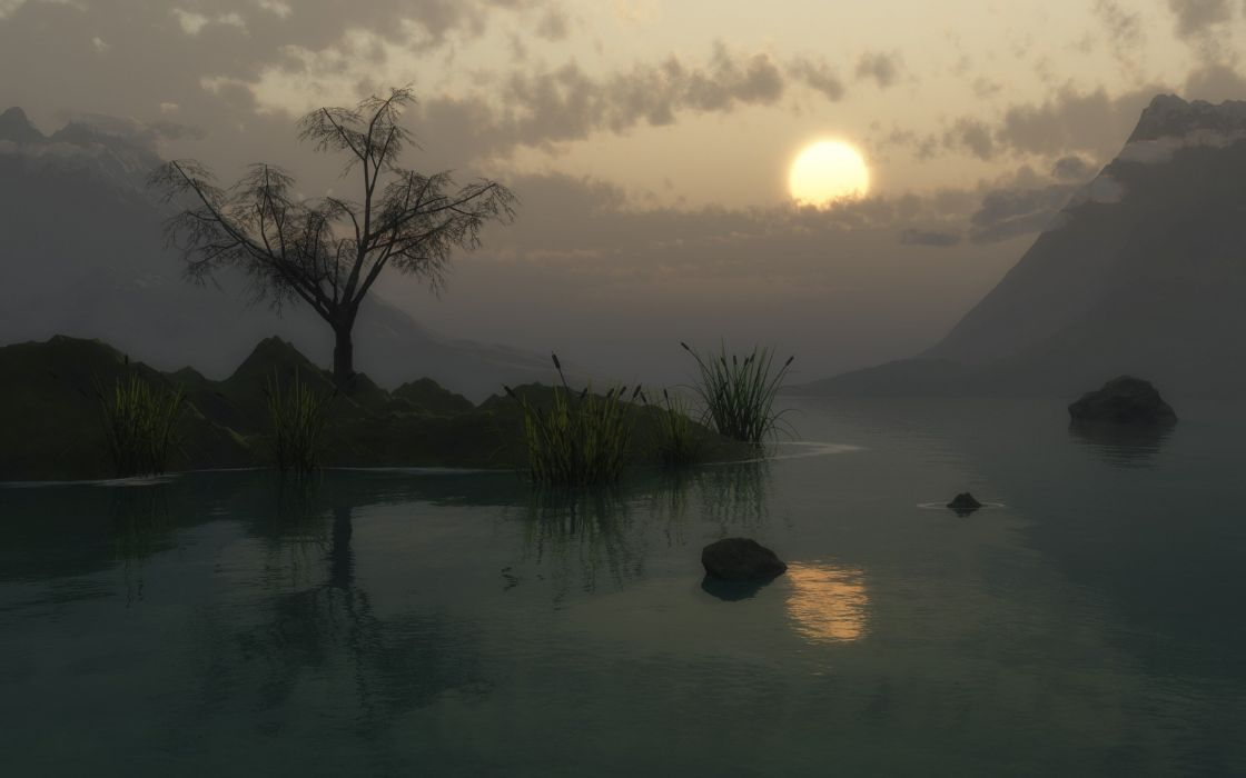 sunset nature 3D renders swamps wallpaper