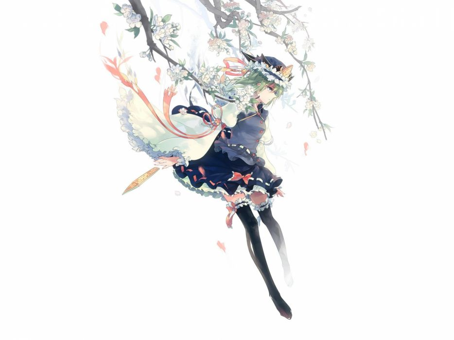 video games Touhou cherry blossoms uniforms skirts ribbons blossoms green eyes short hair thigh highs green hair bows flower petals hats Shikieiki Yamaxanadu simple background branches white background wallpaper