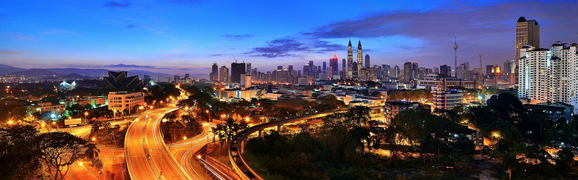 cityscapes highways Malaysia city lights panorama Kuala Lumpur wallpaper