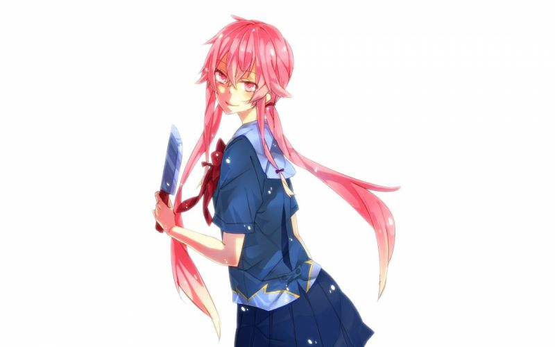 school uniforms pink hair knives pink eyes Mirai Nikki Gasai Yuno wallpaper