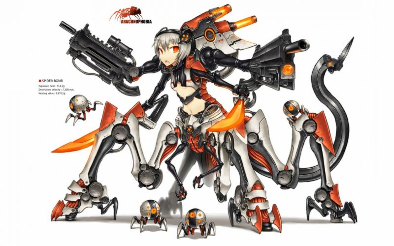 tails guns Pixiv Gia (artist) mechanical spider simple background anime girls wallpaper