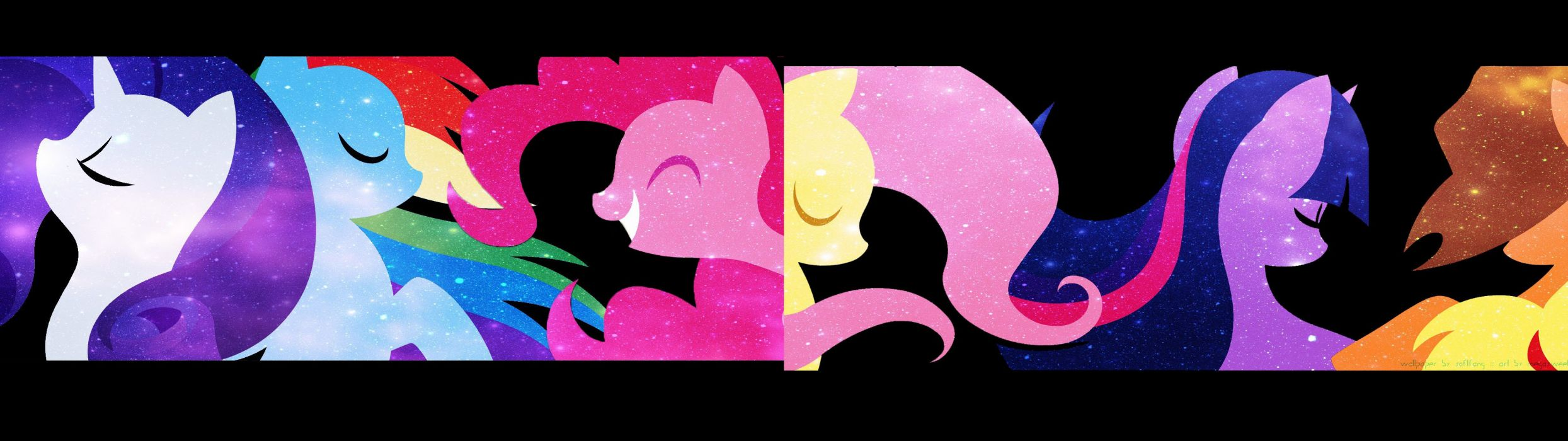 My Little Pony Fluttershy Rainbow Dash Twilight Sparkle Rarity multiscreen Pinkie Pie Applejack wallpaper
