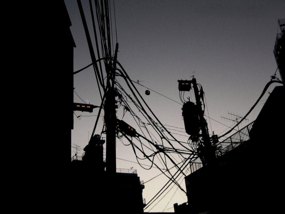 Industrial power lines wallpaper