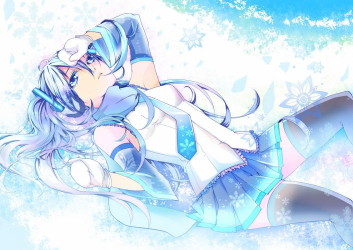 snow Vocaloid gloves white Hatsune Miku blue eyes tie skirts long hair thigh highs twintails snowflakes lying down scarfs white hair Yuki Miku detached sleeves Vocaloid Fanmade wallpaper