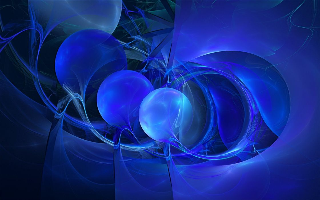 blue fractals digital art blues wallpaper