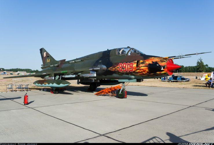 Poland Air Force jet fighter Sukhoi Su-22M4 3000x2030 wallpaper