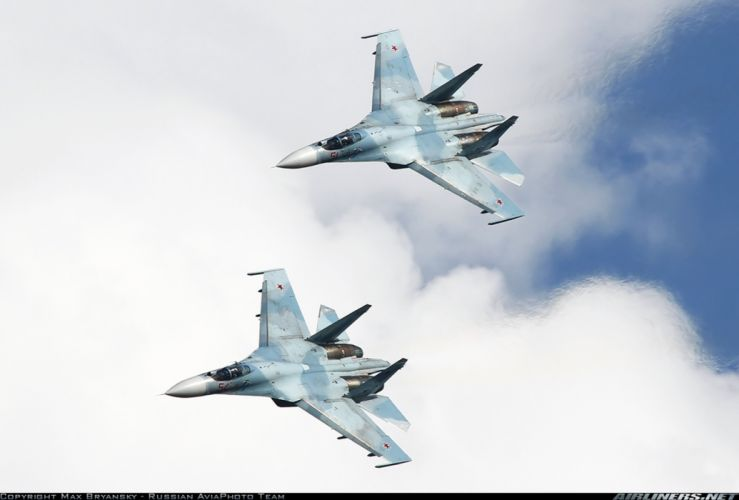 Russia air force jet fighter Sukhoi Su-27SM3 3000x2030 wallpaper
