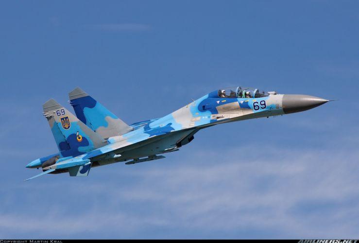 Ukraine - Air Force Sukhoi Su-27UB jet fighter -3000x2033 wallpaper