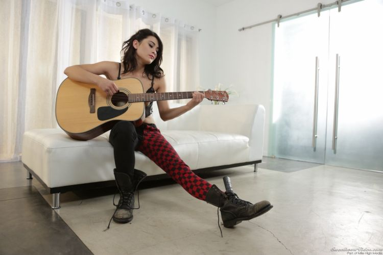 adult girl guitar sexy babe asian wallpaper
