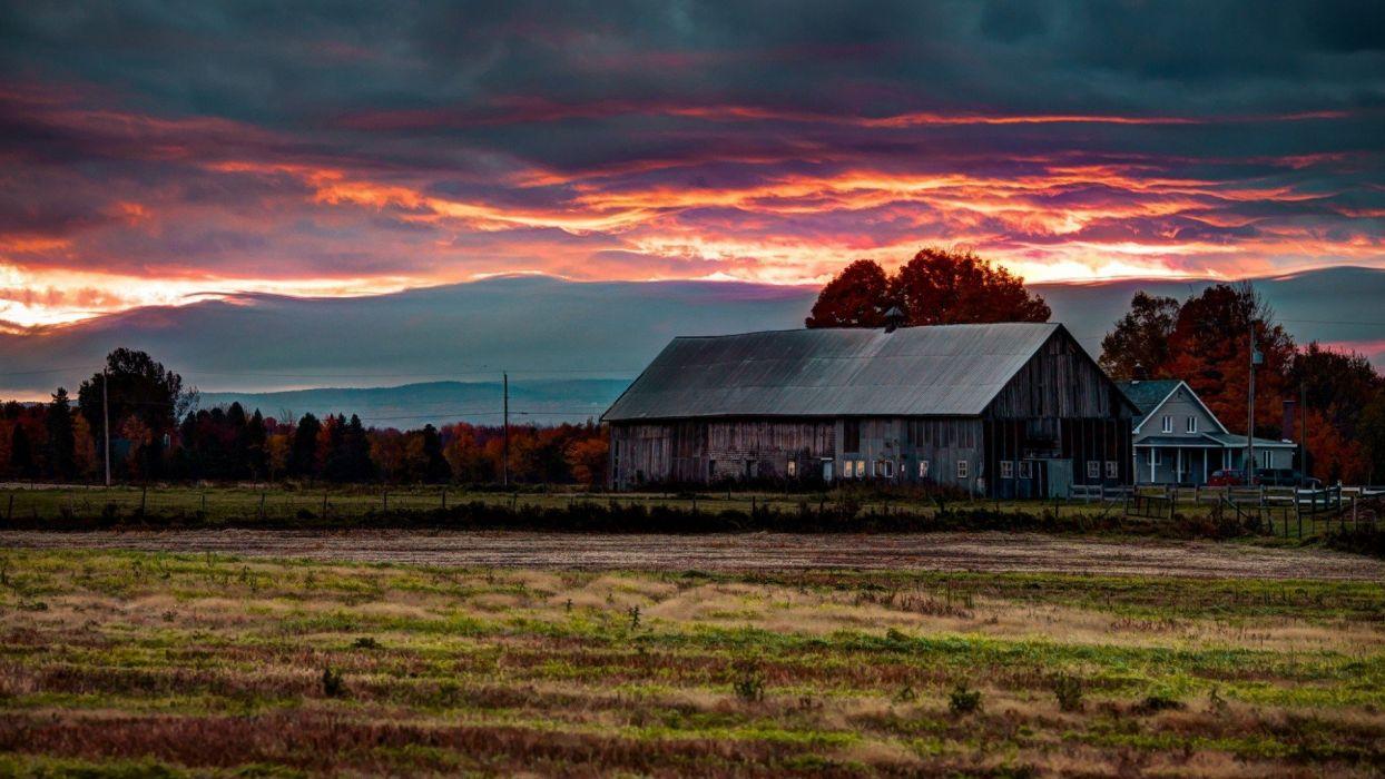 sunset landscapes nature villages wallpaper