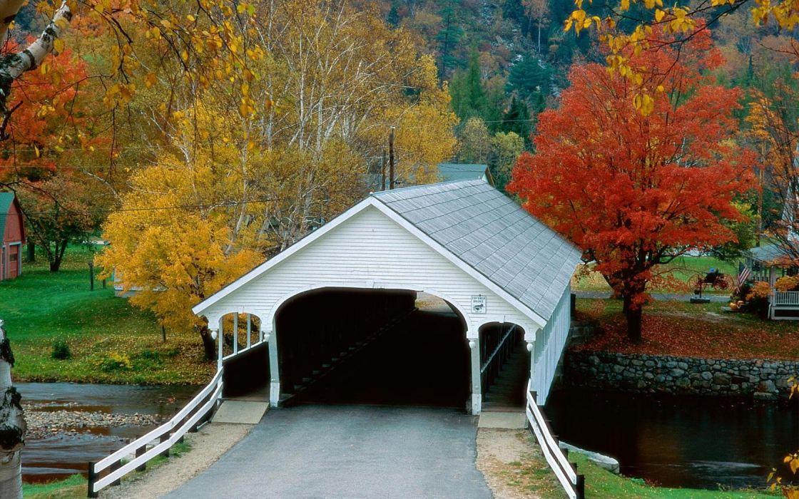 autumn bridges villages New Hampshire wallpaper