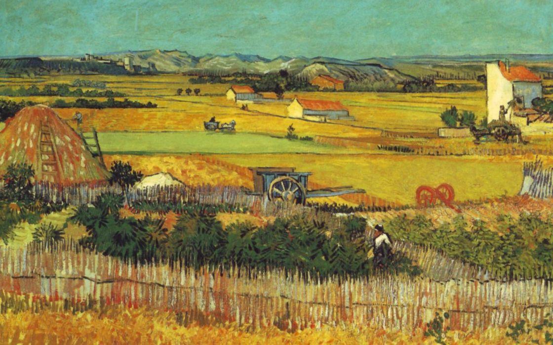 paintings landscapes fields Vincent Van Gogh artwork Plaine de la Crau wallpaper