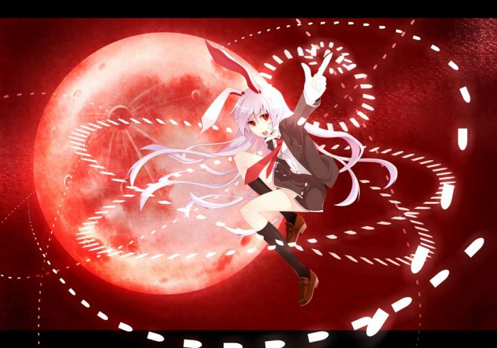 video games Touhou red school uniforms animal ears Reisen Udongein Inaba wallpaper