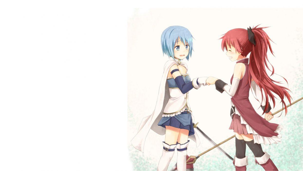 redheads blue hair Mahou Shoujo Madoka Magica Miki Sayaka Sakura Kyouko anime spears simple background anime girls swords wallpaper