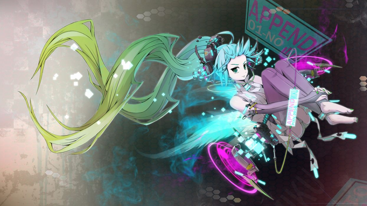 headphones Vocaloid Hatsune Miku long hair bodysuits aqua hair Miku Append anime girls Vocaloid Append wallpaper