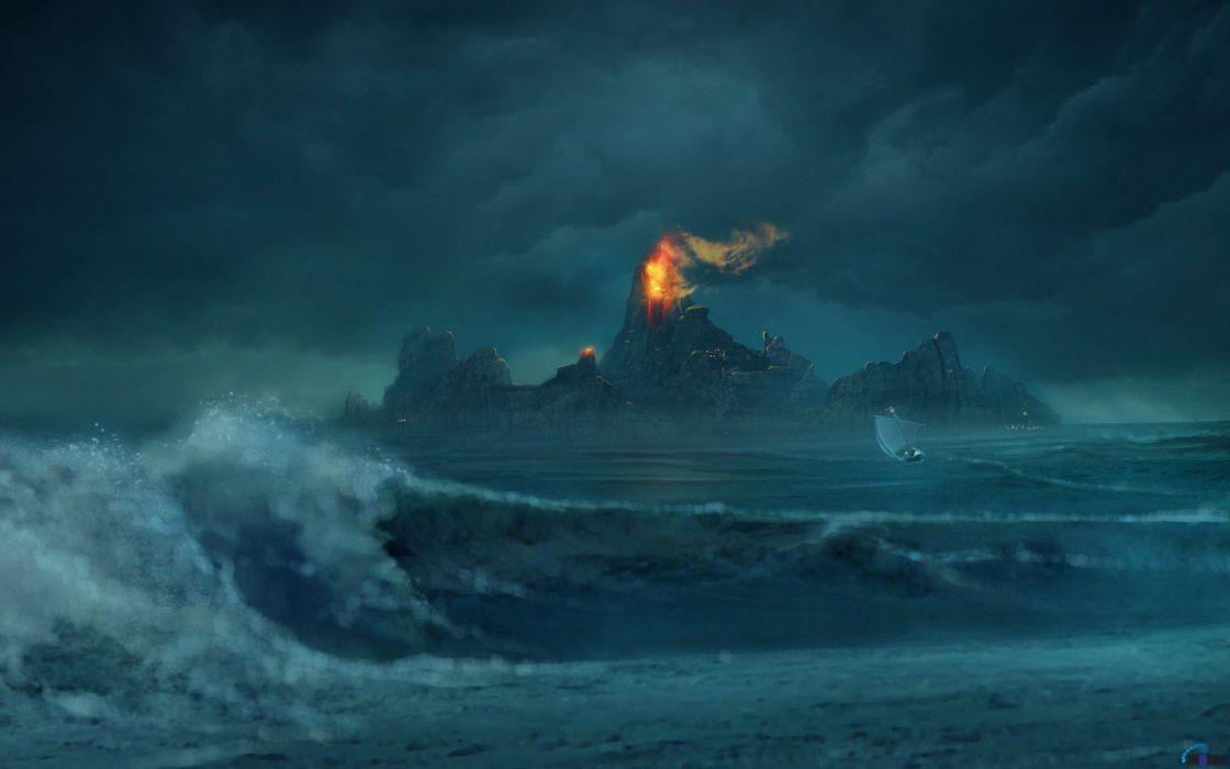 landscapes nature waves fantasy art boats artwork sailboats wallpaper